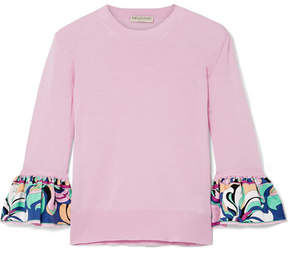 Emilio Pucci Printed Silk Twill-trimmed Wool Sweater - Pink