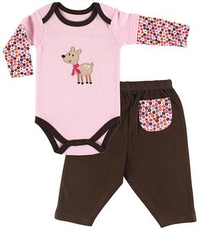 Hudson Baby Pink & Brown Stars Bodysuit & Pants - Infant