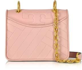 Tory Burch Alexa Dark Pink Quartz Leather Mini Shoulder Bag - PINK - STYLE