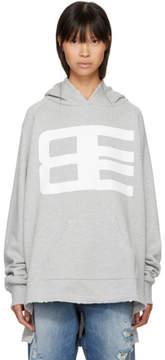 Baja East Grey Long Logo Hoodie