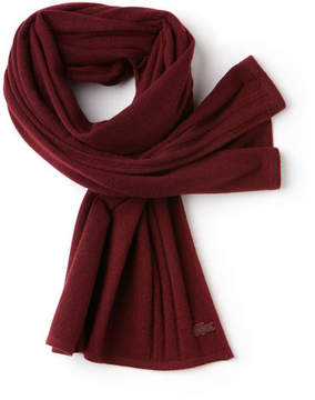 Lacoste Women's Cashmere Jersey Scarf With Contrast Details