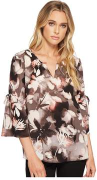 Ellen Tracy Ruched Sleeve Top Women's Clothing