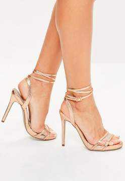 Missguided Rose Gold Clear Strap Ankle Tie Sandals