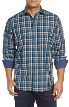 Bugatchi Men's Classic Fit Twill Check Sport Shirt