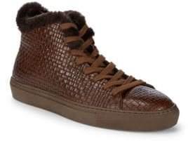 Aquatalia Alonzo Sheep Fur and Leather Embossed Platform Sneakers