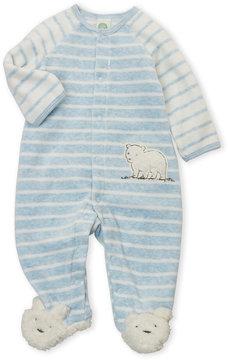 Little Me Newborn Boys) Velour Fuzzy Bear Footie
