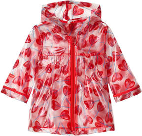 Catimini Red Heart Lollipop Print Transluscent Raincoat