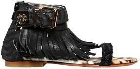 Roberto Cavalli Nappa Leather Sandals W/ Fringe
