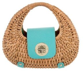 Kate Spade Wicker Handle Bag - BLUE - STYLE