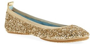 Yosi Samra Women's Serna Foldable Glitter Ballet Flat