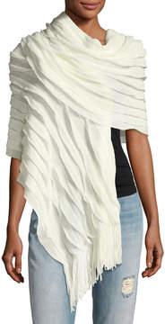Neiman Marcus Ruffle Knit Fringe Wrap