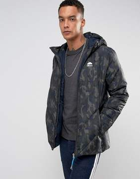 Ellesse Italia Duckdown Puffer Jacket With Hood Logo In Camo