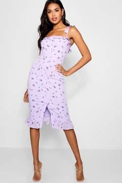 boohoo Floral Print Button Through Midi Dress