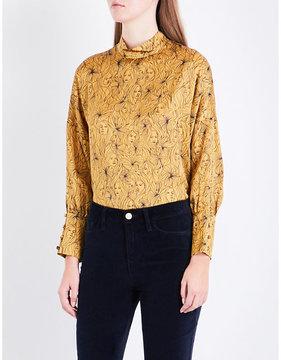 Claudie Pierlot Bobin face-print silk-satin top
