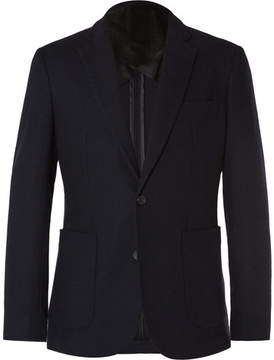Hardy Amies Navy Slim-Fit Brushed-Cashmere Blazer