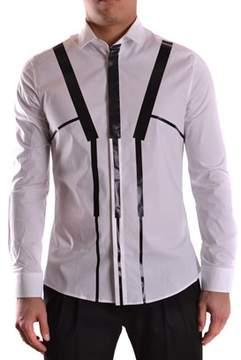 Les Hommes Men's White/black Cotton Shirt.