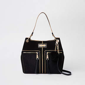 River Island Black pocket front slouch bag