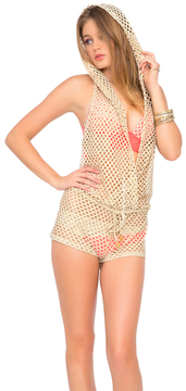 Luli Fama - Starfish Wishes Gold Net Hoodie Romper in Gold (L475849)
