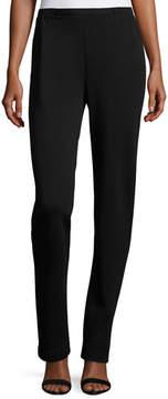 Caroline Rose Flat-Knit Wool Slim-Leg Pants, Black, Plus Size