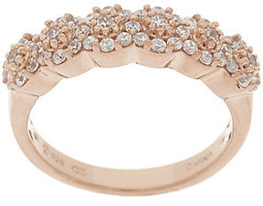 Diamonique As Is 1/2 cttw Cluster Band Ring,Ster. or 14K Clad