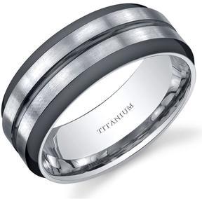 Ice Men's Polished Two-Tone Titanium Ring Band