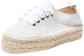 Manebi Women's Leather Solid Lace-Up Espadrille