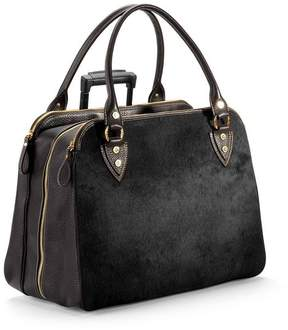 Aspinal of London Buffalo Cabin Bag In Black Calfskin With Black Haircalf