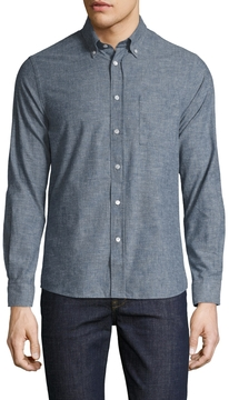 Commune De Paris Men's Eudes Solid Chambray Sportshirt