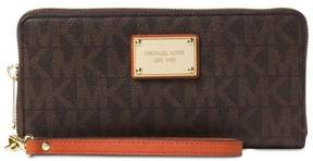 MICHAEL Michael Kors Jet Set Mk Logo Orange Travel Continental Wallet, Wristlet - BROWN/ORANGE - STYLE