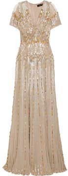 Jenny Packham Tulle-paneled Embellished Silk Gown - Beige