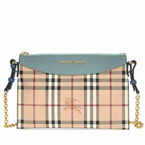 Burberry Haymarket Check and Leather Clutch - Eucalyptus Green / Multi - ONE COLOR - STYLE