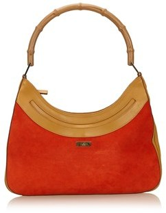 Gucci Pre-owned: Suede Bamboo Shoulder Bag. - ORANGE X BROWN X BEIGE - STYLE