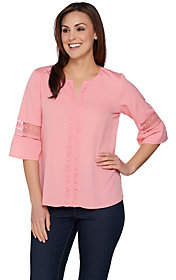 C. Wonder As Is Flutter Sleeve Blouse with Lace Detail