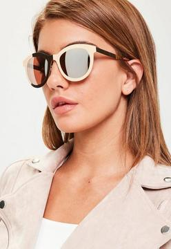 Missguided Gold Metal Frame Mirrored Sunglasses