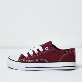 River Island Boys red low top lace-up plimsolls