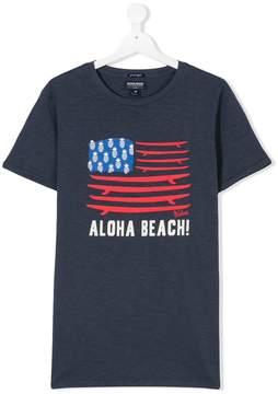 Woolrich Kids TEEN slogan surf board print T-shirt