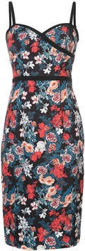 Black Halo rose print fitted dress