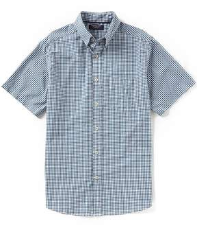 Roundtree & Yorke Trim Fit Short-Sleeve Gingham Checked Sportshirt