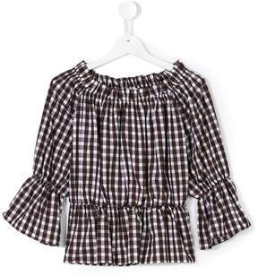 Dondup Kids checked off-the-shoulders blouse