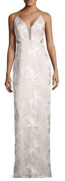 Aidan Mattox Piped Sleeveless Gown