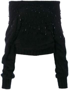 Alberta Ferretti funnel neck crystal sweater