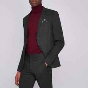 River Island Mens Grey check super skinny fit suit jacket