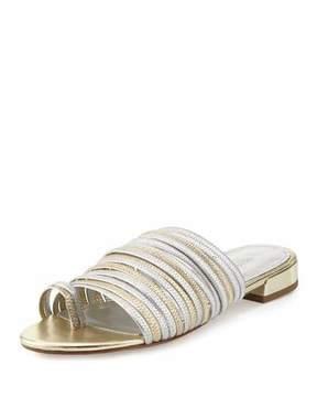 Donald J Pliner Frea Strappy Flat Slide Sandal, Silver