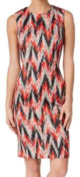 Calvin Klein Women's Printed Ikat Scuba Sheath Dress (12, Fire Multi)
