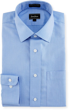 Neiman Marcus Classic-Fit Non-Iron Dobby Check Dress Shirt, Blue