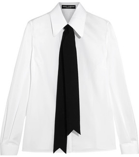Dolce & Gabbana Grosgrain-trimmed Cotton-blend Poplin Shirt - White