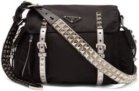 Prada New Vela Leather Trimmed Cross Body Bag - Womens - Black Silver