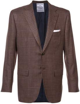 Kiton checked button blazer