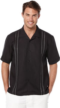 Cubavera Short Sleeve Linen Tuck With Embroidery
