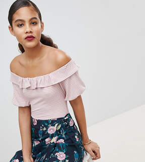 Fashion Union Tall Off Shoulder Body With Ruffle In Fine Stripe